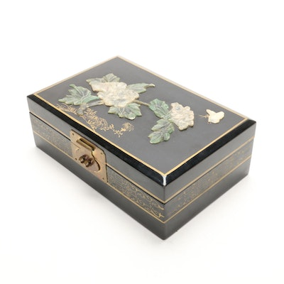 Chinese Black Lacquer and Brass Jewelry Box with Decorative Stone Design