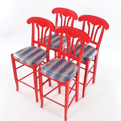 Four Red-Painted Counter Stools