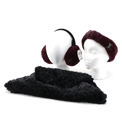 Calvin Klein Faux Fur Headband with INC Faux Fur Infinity Cowl and Earmuffs