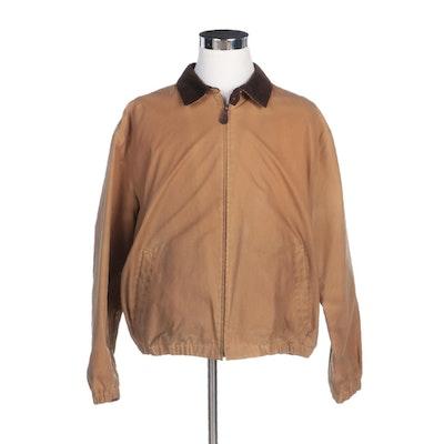 Men's Polo Ralph Lauren Waxed Cotton Zip Jacket with Corduroy Collar
