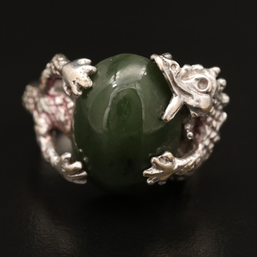 Vintage 14K Nephrite Dragon Ring