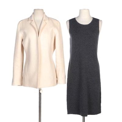 Liz Claiborne Off-White Wool Blend Jacket and Talbots Petites Merino Wool Sheath