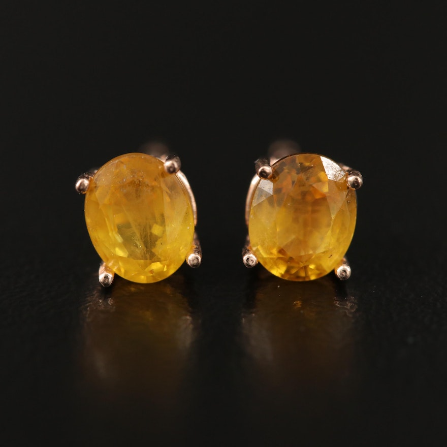 14K Yellow Sapphire Solitaire Earrings