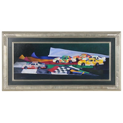 "Sid Willis Still Life Oil Painting with Toy Race Cars ""Flag Set"""