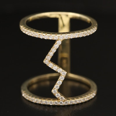 Sterling Cubic Zirconia Zig Zag Band