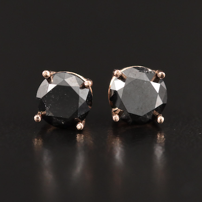 14K 1.46 CTW Black Diamond Stud Earrings