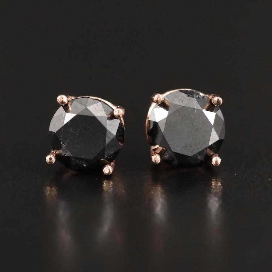 14K 1.46 CTW Black Diamond Stud Earrings
