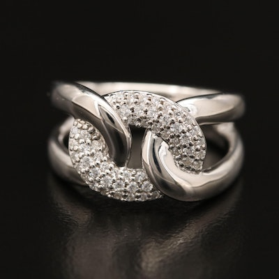 Sterling Cubic Zirconia Interlocking Band