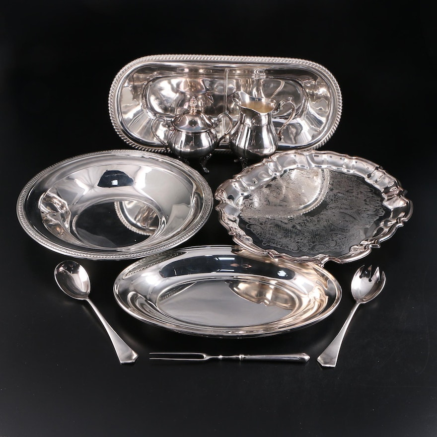 "Leonard ""Chippendale"" with Gorham and Other Silver Plate Serveware"
