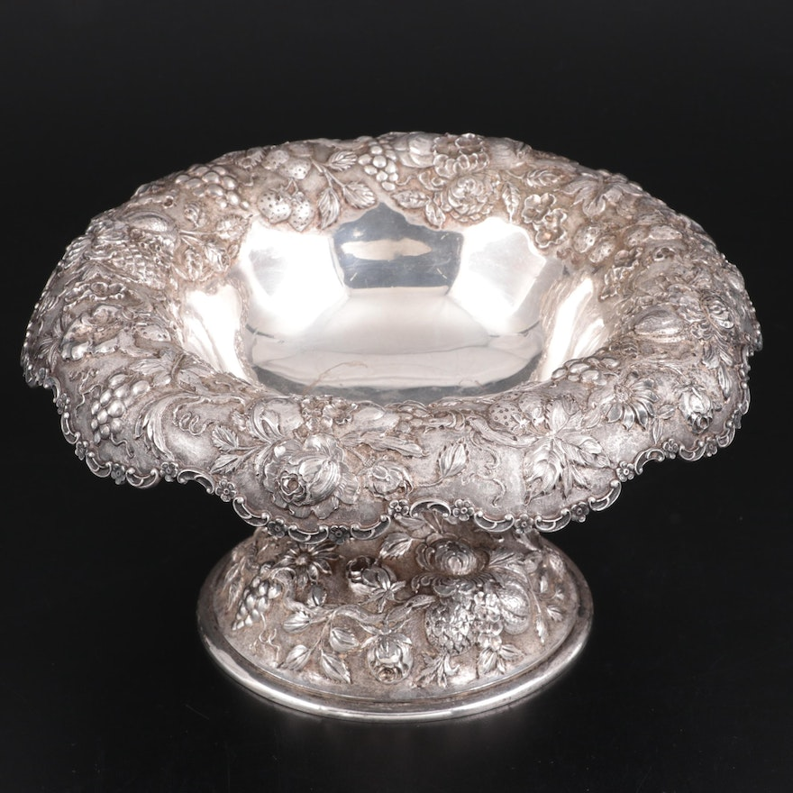 Loring Andrews of Cincinnati Repoussé Sterling Silver Compote, Early 20th C.