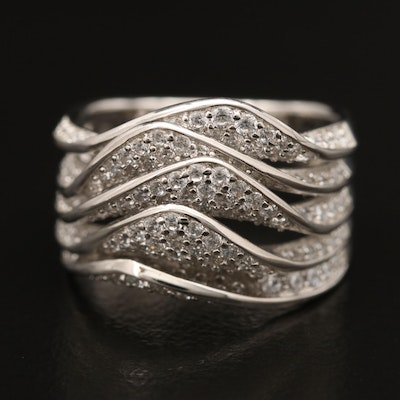 Sterling Cubic Zirconia Layered Band
