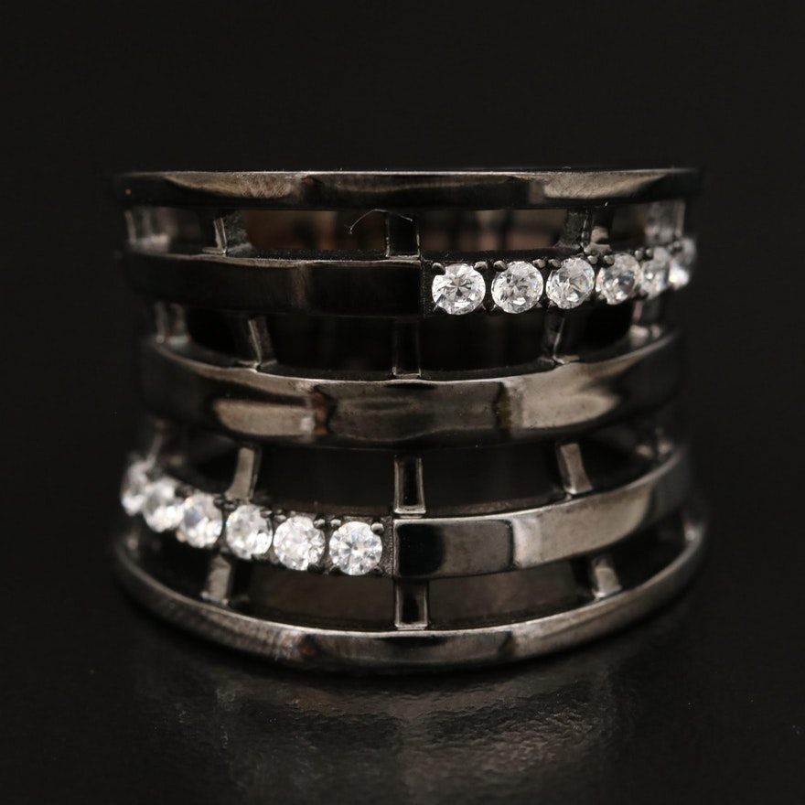 Sterling Cubic Zirconia Concave Band