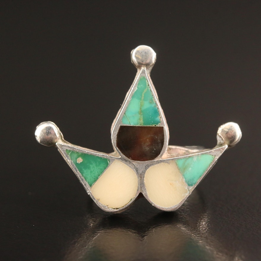 Southwestern Style Sterling Silver Turquoise, Mother of Pearl and Horn Ring