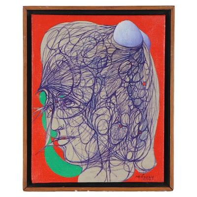 Albert Radoczy Acrylic Painting of Abstract Female Figure, 1974