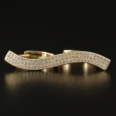 Cubic Zirconia Two Finger Ring in Sterling