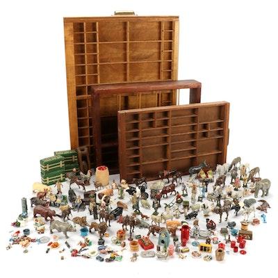 Miniature Metal Cast Dollhouse Furniture, Animals and Letterpress Trays