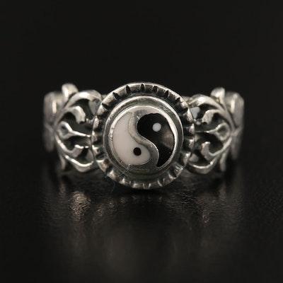 Sterling Silver Enamel Yin Yang Ring