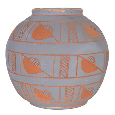 Native American Style Sgraffito Wheel-Thrown Earthenware Vessel