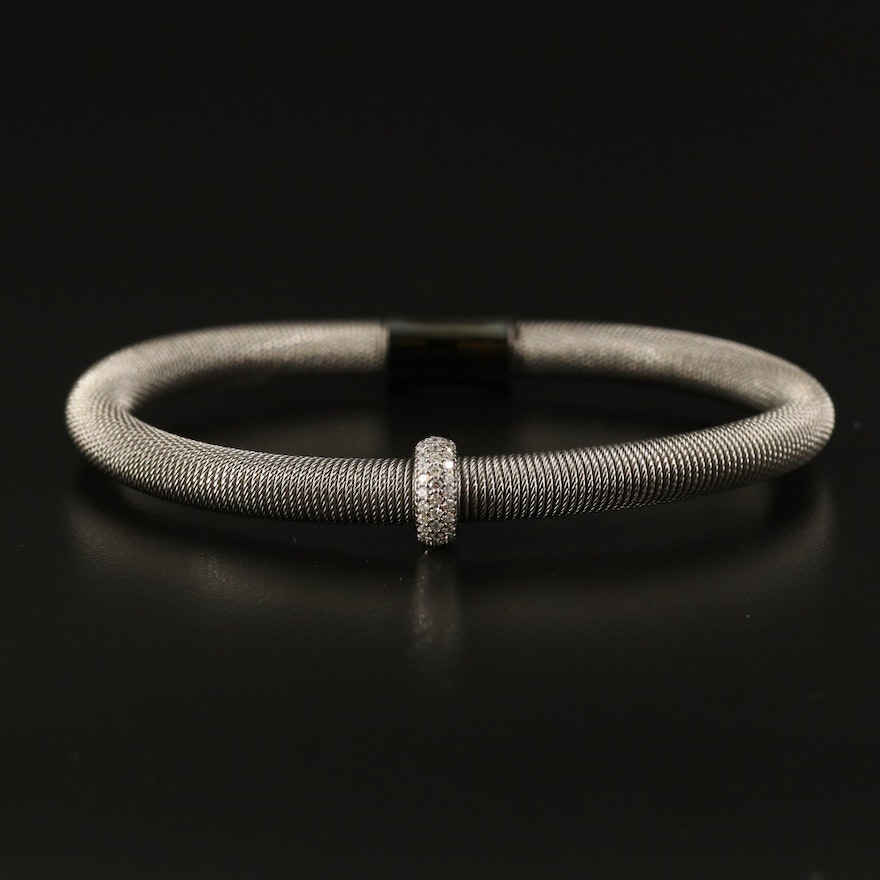 Sterling Wire Bracelet with Cubic Zirconia Accent