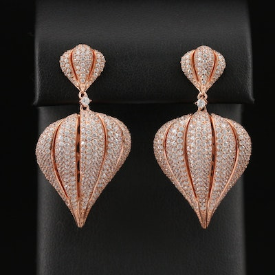 Sterling Silver Cubic Zirconia Garlic Clove Dangle Earrings
