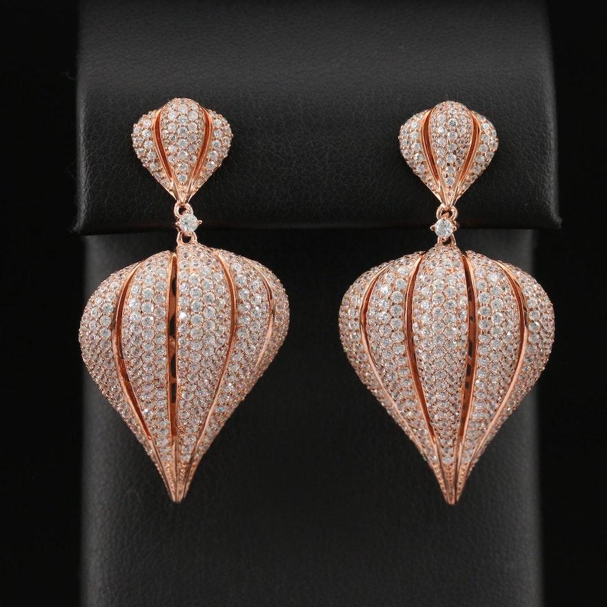Sterling Silver Cubic Zirconia Garlic Clove Dangle Earrings
