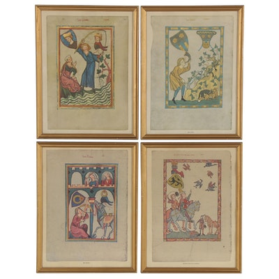 "Offset Lithographs after Illustrations from Medieval Manuscript ""Codex Manesse"""