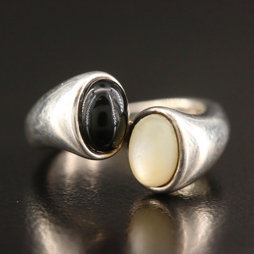 Sterling Silver Black Onyx and Mother of Pearl Bypass Ring
