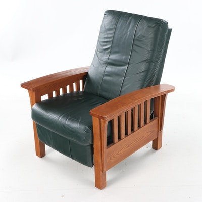 BarcaLounger Arts and Crafts Style Oak and Green Leather Reclining Armchair