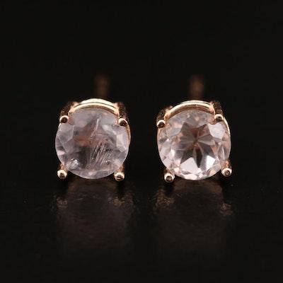 14K Rose Gold Round Faceted Quartz Stud Earrings