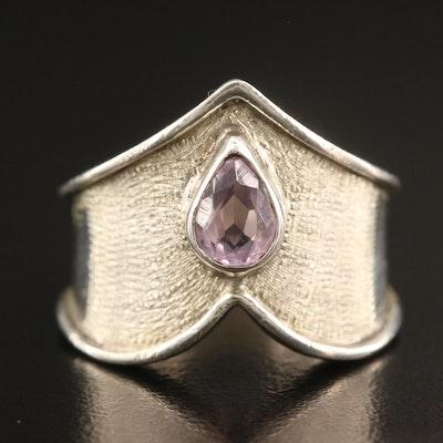 950 Silver Amethyst Chevron Ring