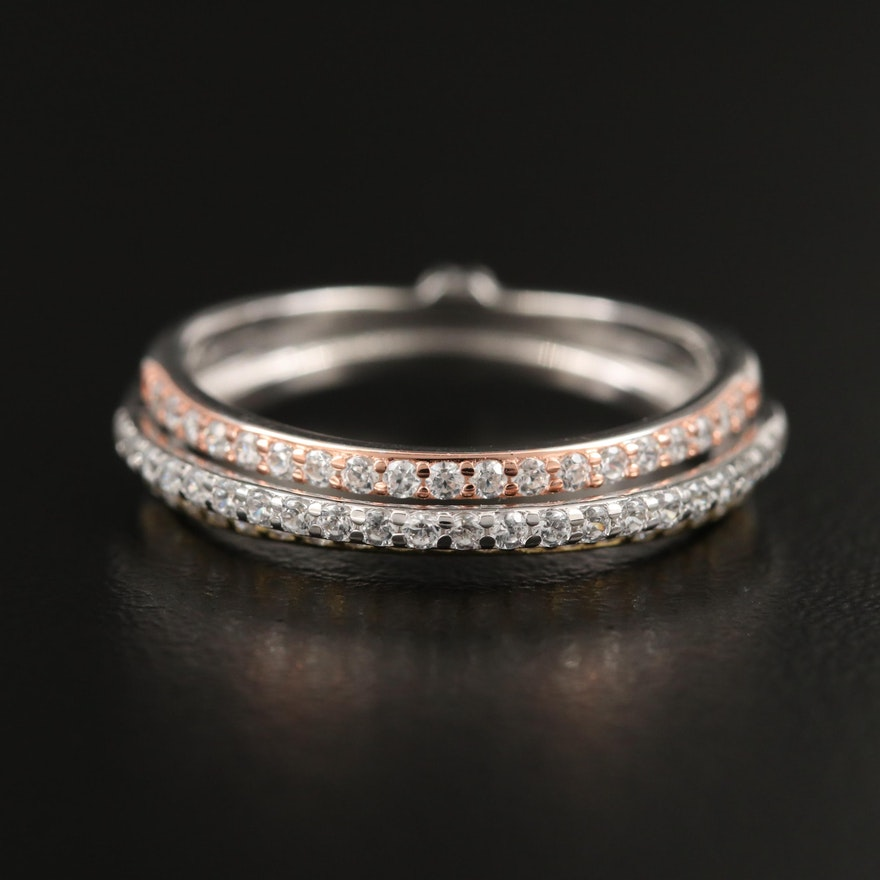 Sterling Silver Triple Row Cubic Zirconia Band