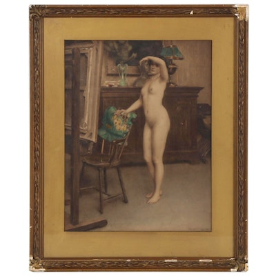 Hand-Colored Photogravure of Female Nude after Hermann Fenner-Behmer