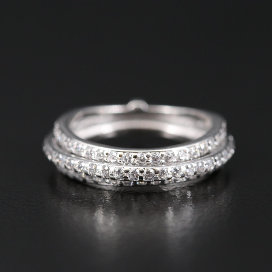Sterling Silver Multi Row Cubic Zirconia Ring