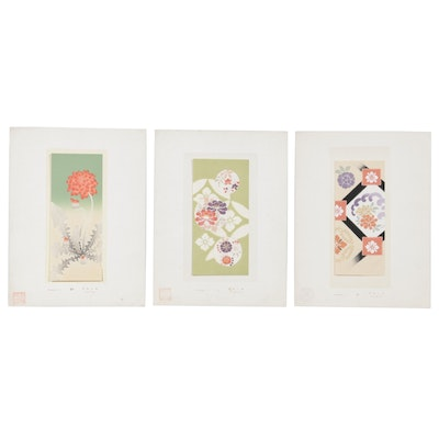Japanese Floral Pattern Sample Lithographic Prints, Mid to Late 20th Century