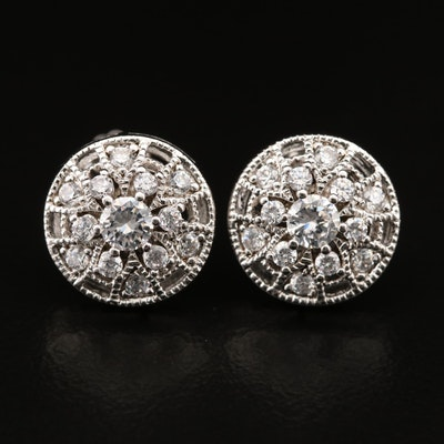 Sterling Cubic Zirconia Button Earrings