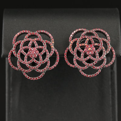 Sterling Silver Cubic Zirconia Openwork Floral Earrings