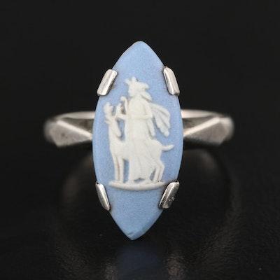 Vintage Sterling Silver Porcelain Cameo Ring