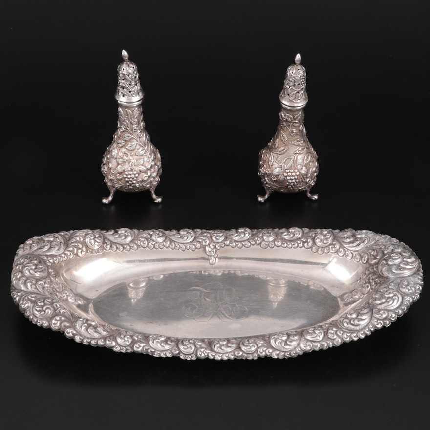 Loring Andrews Co. Sterling Silver Shakers and Simons Bros. Sterling Silver Tray