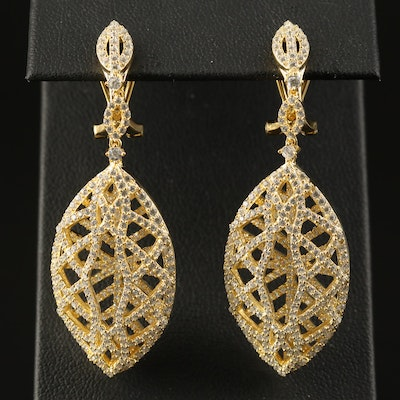 Sterling Silver Cubic Zirconia Openwork Navette Earrings