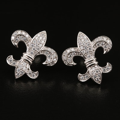 Sterling Cubic Zirconia Fleur-de-Lis Earrings