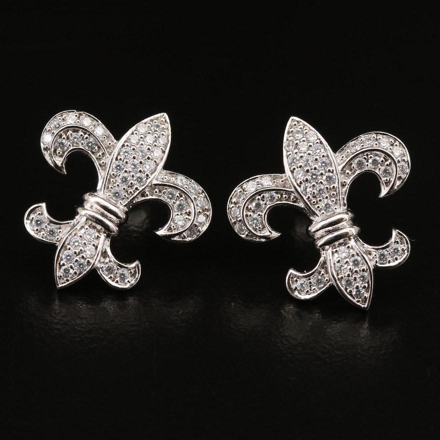 Sterling Cubic Zirconia Fleur-de-Lis Earrings