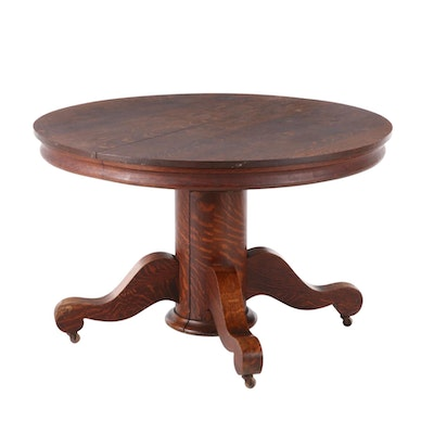 Empire Revival Oak Pedestal Dining Table with Leaf Inserts, Early 20th Century