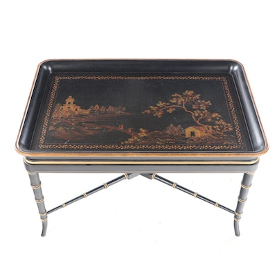 Regency Style Ebonized, Parcel-Gilt, and Chinoiserie-Decorated Tray-on-Stand