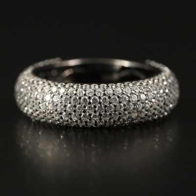 Sterling Silver Multi Row Pavé Cubic Zirconia Band