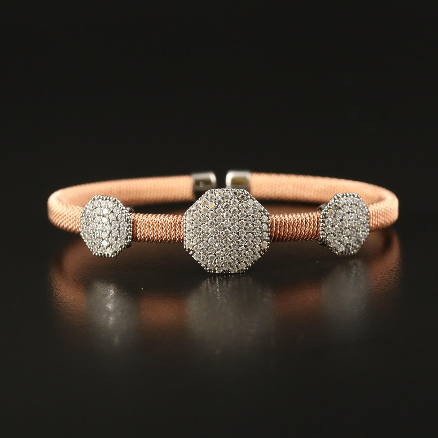 Sterling Silver Woven Cuff with Octagonal Cubic Zirconia Details