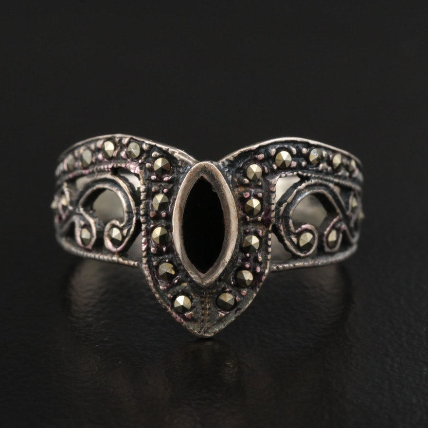 Sterling Silver Black Onyx and Marcasite Openwork Ring