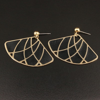 Enamel Inlay Fan Earrings