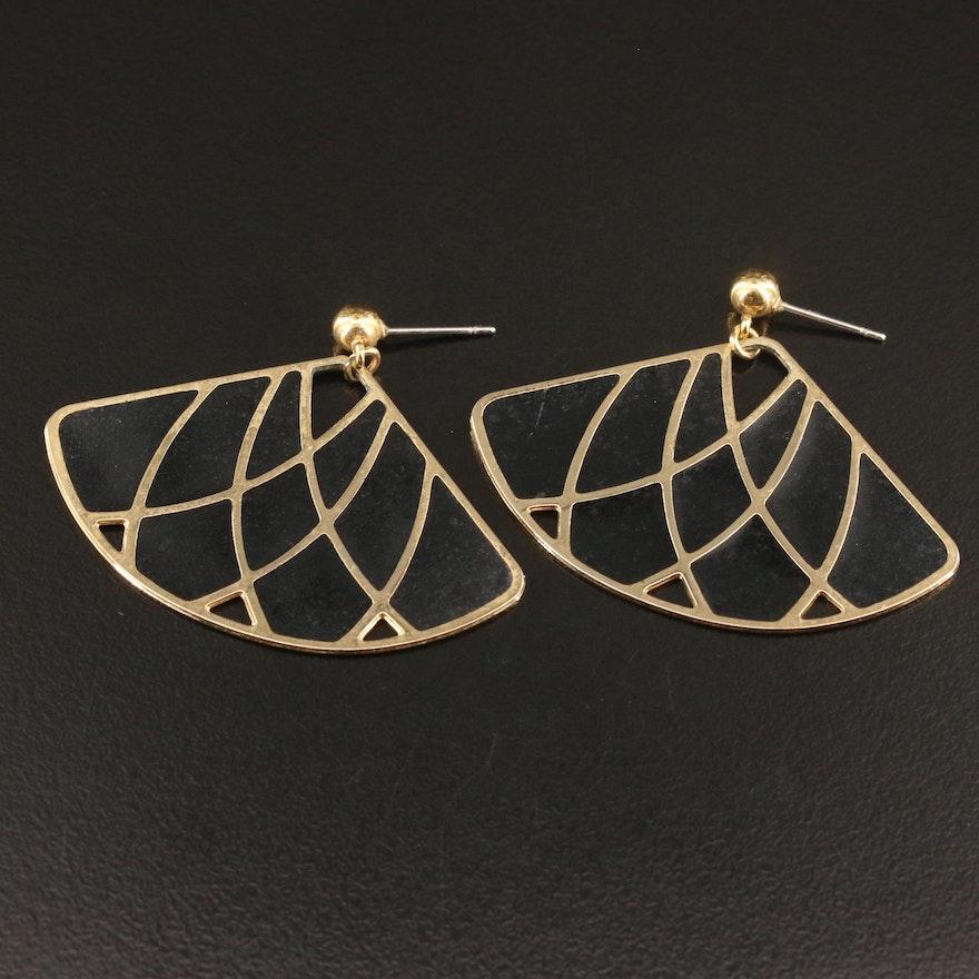 Enamel Inlay Fan Earrings