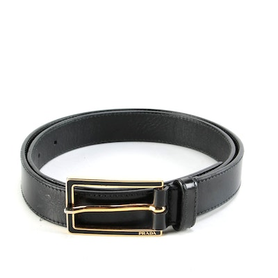 Prada 1701 Black Leather Belt