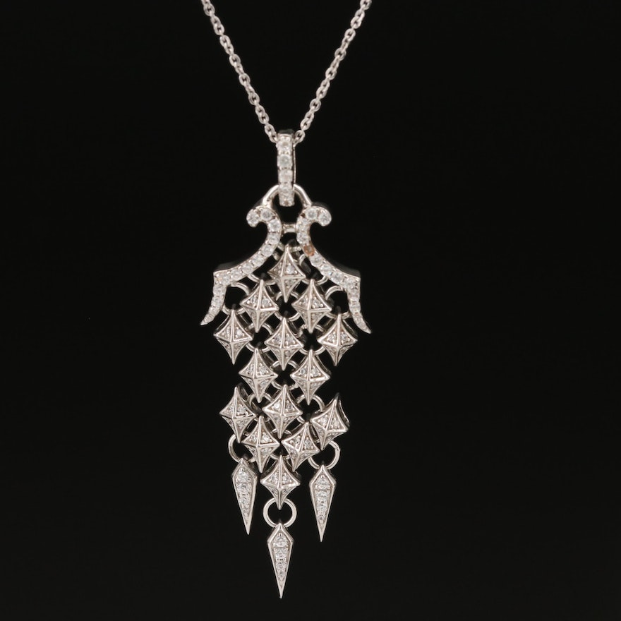 Sterling Cubic Zirconia Articulating Necklace